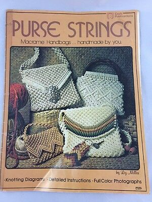 Vintage Booklet Purse Strings Macrame Handbags knotting diagrams detailed instru