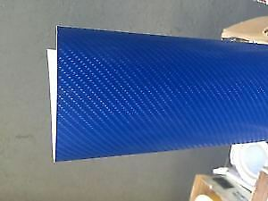 4D Blue Gloss Carbon Fibre Vinyl Wrap Air BUBBLE FREE 300mm x 1520cm