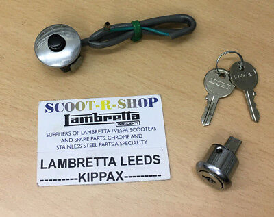 Lambretta Li Series 1 & 2 Engine Kill Switch & Chrome Steering Lock. New