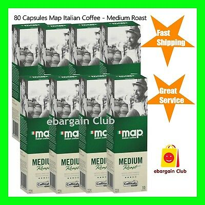 80 Capsules Map Italian Coffee Medium Roast Capsule Pod Caffitaly System eBC