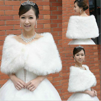 White/Ivory Bride Pearl shawl Faux Fur Shrug Jacket Bolero Coat fashion dress