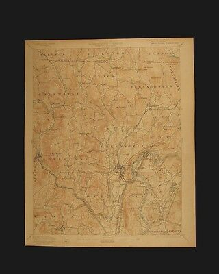 Greenfield Massachusetts Vermont vintage 1903 original USGS Topographical chart