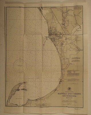 Philippines Manila 1901 Cavite Anchorages Old harbor chart map Bacoor Bay