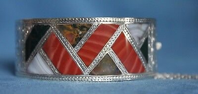 Antique Celtic Scottish Banded Agate Inlay Sterling Silver Hinged Cuff Bracelet