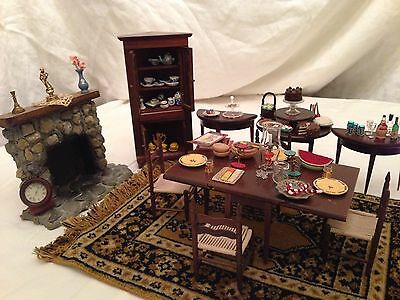 Vintage Dollhouse Miniature Dining room + Extras! Messer & Others - 92 Pieces!!!