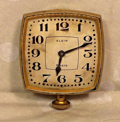 Vintage Elgin Automobile Clock Runs Elegant Gold Colored Case w/ Unique Shape