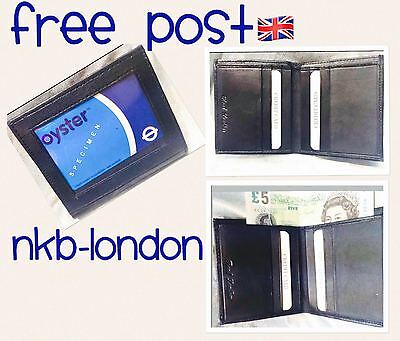 Genuine leather oyster ID card pass holder leather black window wallet purse