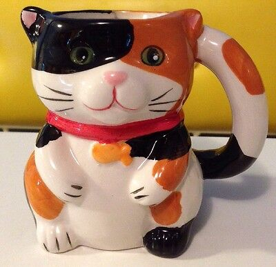 Pier One Calico Cat with Mouse in Belly Coffee Mug 3-D Detail