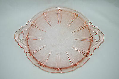 Jeannette Glass Pink Depression CHERRY BLOSSOM Tray stock code 3357