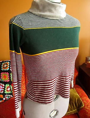 SMALL True Vtg 70s GREEN/RED/YELLOW Stripe Hippy Knit Turtleneck LS Top RELIC