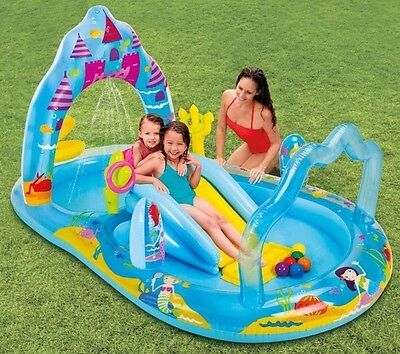 Kids Swimming Pool with Water Slide & Spray Outdoor Inflatable Girls Splash Play