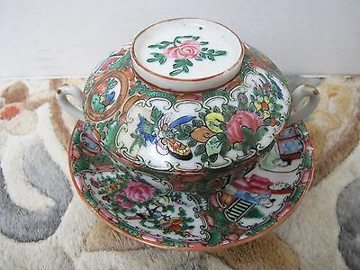 Antique Chinese Cantonese Famille Rose Porcelain Export Cup & Plate.
