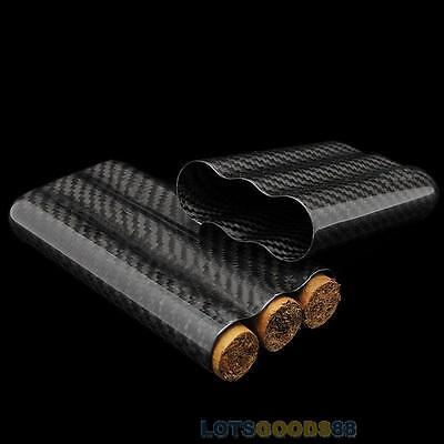 Black Real Carbon Fiber Gloss Finish Cigar Case Holder 3 Tubes Travel Case Cover