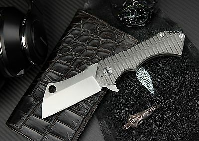 ToxiCut Field Cleaver Heavy Tactical/Hunting Folding Knife D2 Blade & Titanium