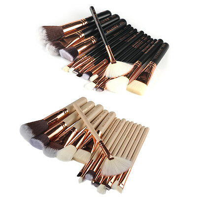 15 Pcs Pro Makeup Set Powder Foundation Eyeshadow Eyeliner Lip Cosmetic Brushes