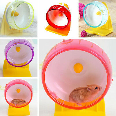 Hamster Mouse Rat Exercise Silent Running Spinner Wheel +Bracket Pet Toy Plastic