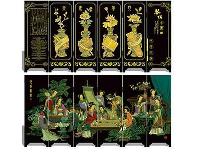 Lacquer six small screen Decoration  Poetry and painting