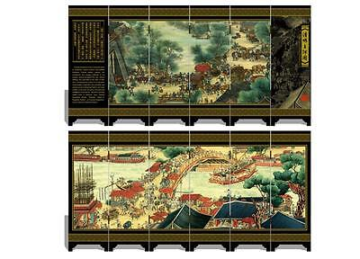 Lacquer six small screen Decoration   Riverside map