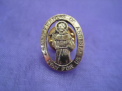Saint St Francis of Assisi Gold Lapel Pin Medal Patron of Ecologists Religious