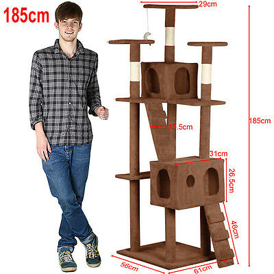 Cat Tree Tower Condo Furniture Scratching Post Pet Climbing Play House Gym 185cm