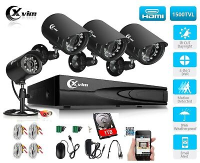 Xvim 8CH Video HDMI DVR 800TVL Outdoor CCTV Home Security Camera System 1TB HDD