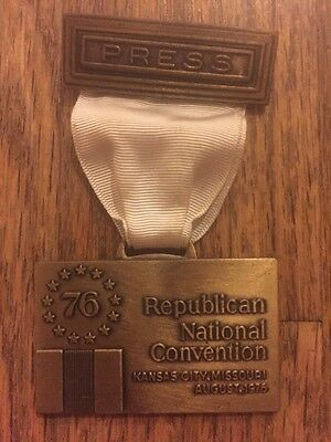 1976 Republican National Convention Delegate Press Badge President Gerald Ford