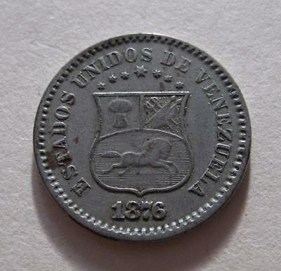 1876 Venezuela Un 1 Centavo Cent Coin South America Y#25 First Date