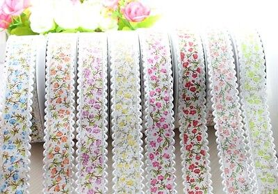 "DIY 5yard 0.98""  Grosgrain Ribbon Lace Ribbon Printflower Polyester Trim Wedding"