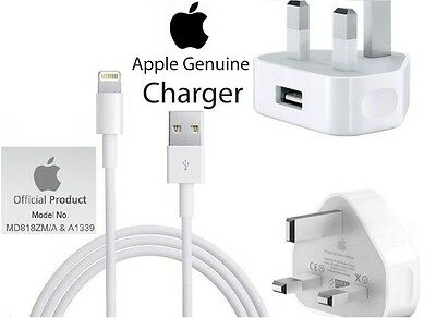 100% Genuine Mains Wall Charger Plug & Lightning Cable for iPhone 6 Plus 5 5C 5S