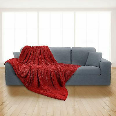 Luxury Long Pile Super Soft and Cuddly 150x200cm Throw Blanket Faux Fur (Red)
