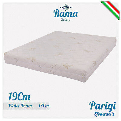 Materasso H 19 Cm Poliuretano Waterfoam Sfoderabile Aloe Vera Ortopedico Parigi