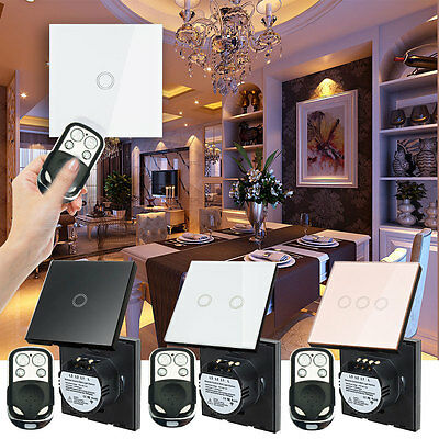1 Way 1/2/3 Gang Glass Panel Wall Light Smart Touch Switch Remote Controller