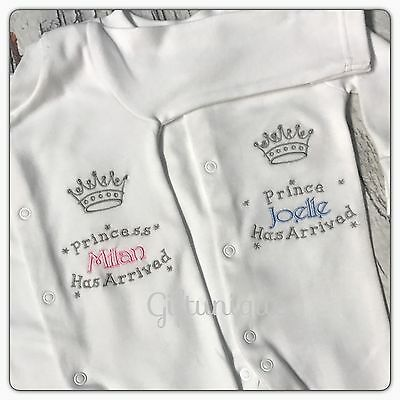 PERSONALISED Baby Grow Embroidered SLEEPSUIT Prince Princess Boy Girl ANY NAME D