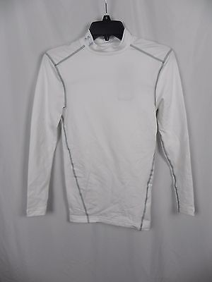 NEW Men's Under Armour ColdGear Compression Mock Turtle Top White Size S (S1-13)