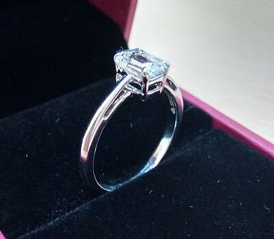 14Ct White Gold Diamond Engagement Ring Emerald Cut 2 Ct Diamond Solitaire