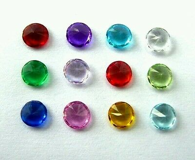 Circle Birthstone Charm Crystals Set of 12 Colours For Floating Memory Locket