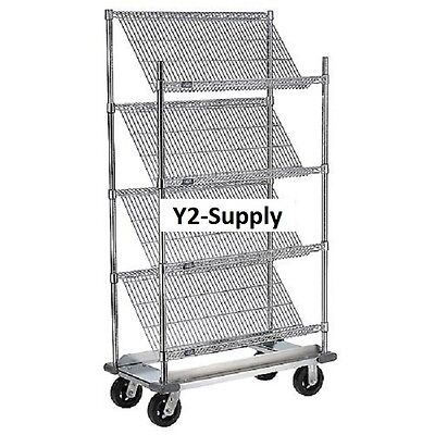 "NEW! Slant Wire Shelving Truck - 4 Shelves With Brakes - 48""W x 18""D x 69""H!"