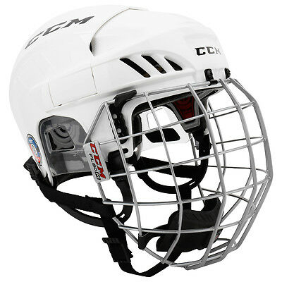 New Ccm Fitlite 60 Combo Helmet Color - White Size - Senior Free Shipping