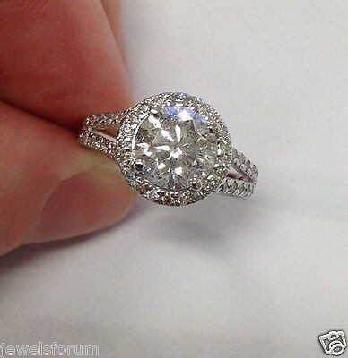 14K Engagement Ring 2.00 Ct Round Brilliant Cut Diamond Solid White Gold