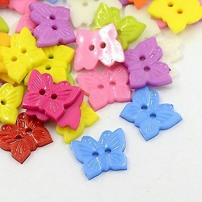 lot 20 boutons papillon 15 mm 2 trous multicolore couture scrapbooking neuf