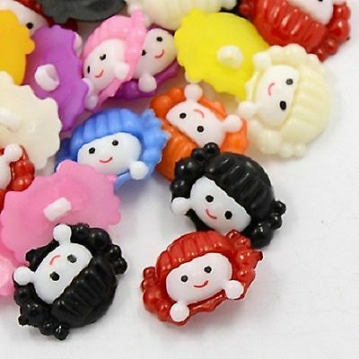 lot 20 boutons visage fille 22 mm multicolore couture mercerie scrapbooking neuf