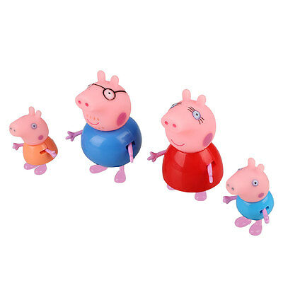 4pcs Cartoon Pink Pig Family Dad Mom Figure Kids Child Lovely Animal Toys Set