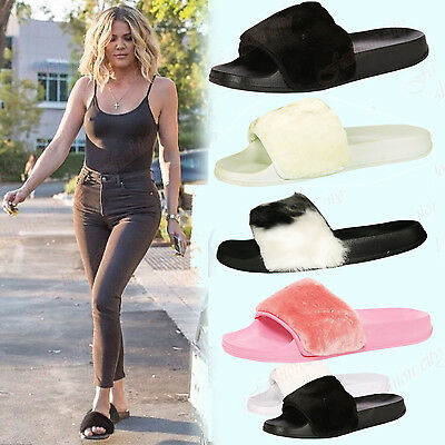 New Womens Ladies Celeb Fur Rubber Slip On Summer Sliders Mules Shoes Sandals