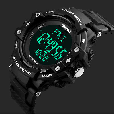 Heart Rate Mens  LED Digital Date Alarm Waterproof Rubber Sports Army Wristwatch