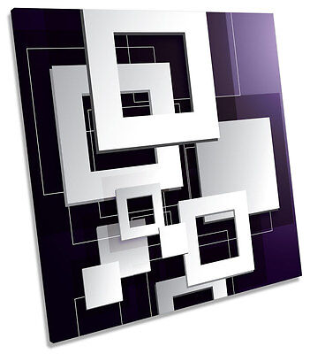 Abstract Purple Blocks CANVAS WALL ART SQUARE Picture Print