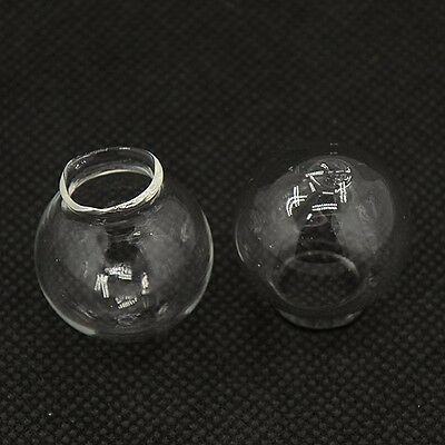 4 Glass Hollow Hand Blown Globe Cabochons 27 x 25 mm Empty Balls 14-15mm hole