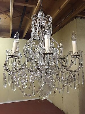 Antique Vintage Italian Crystal Macaroni Beaded Directoire Chandelier Italy