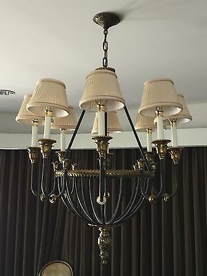 """Stately Vintage French Empire Bronze Wrought Iron Directoire Chandelier 30"""""""