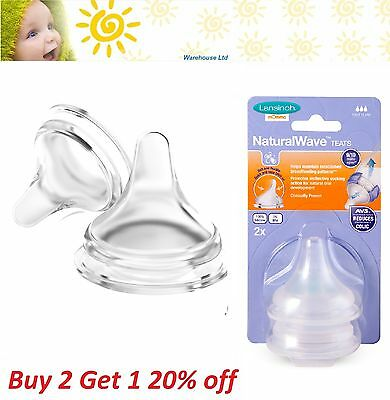 Lansinoh Natural Wave Teats Twin Pack Infant Teats 2 Pack Fast, Medium, Slow