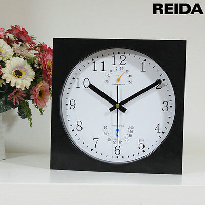 Reida  Multi-Function Plastic Wall Clock with Thermometer and Hygrometer